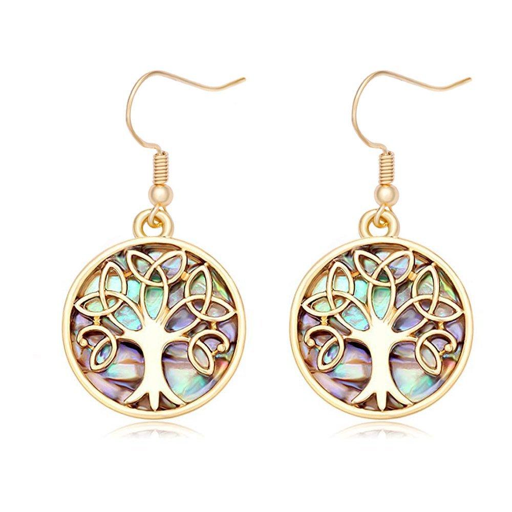 MANZHEN Nature Abalone Paua Shell Tree Charm Dangle Earrings (gold 2)