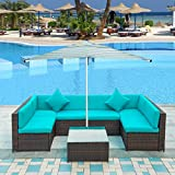 Merax Patio Furniture Set PE Rattan Sectional Garden Furniture Corner Sofa Set (7 Pieces, Blue)