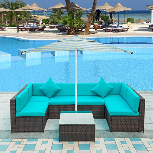 Merax. Patio Furniture Set PE Rattan Sectional Garden Furniture Corner Sofa Set (7 Pieces, Blue) (Furniture Light Blue Wicker)