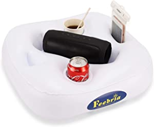 FEEBRIA Upgraded Pool Drink Holder Drink Float for Hot Tub,Beach and Party Decor (White)