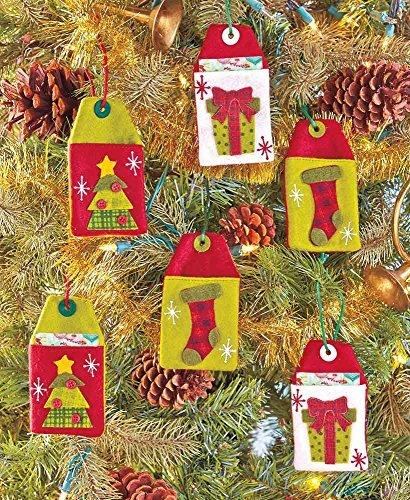 Set of 6 Reusable Felt Country Christmas Gift Card Holders ()