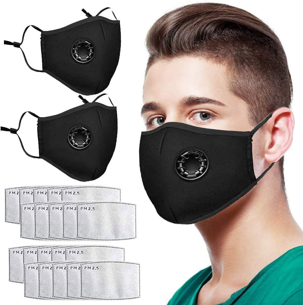 4Pcs Reusable Face Bandanas with Breathing Valve for Adults Outdoor Activities