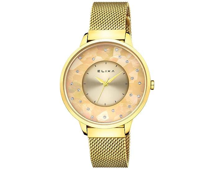 Elixa e117-l475 tono dorado de las mujeres de cristal acentuado reloj de banda de malla de color Dorado: Elixa: Amazon.es: Relojes