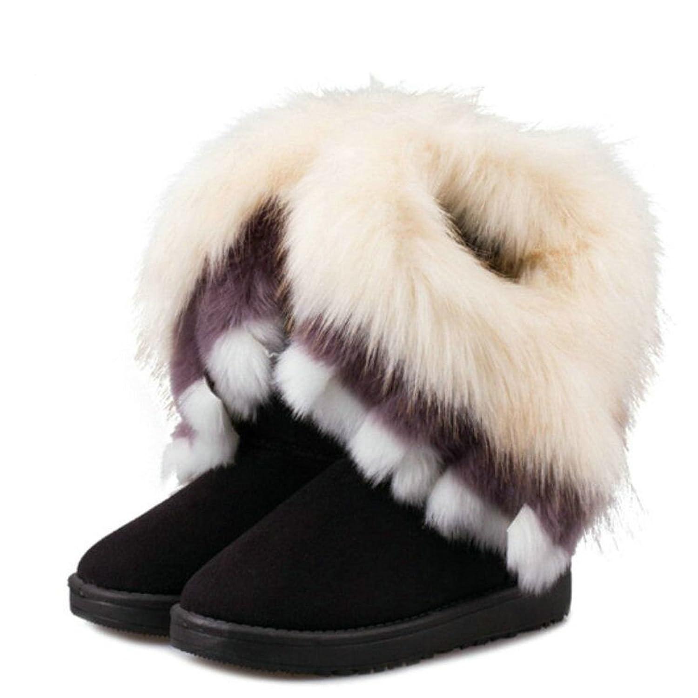 2016 New Designs Womens Patten Winter Lady Boots Rabbit Fur