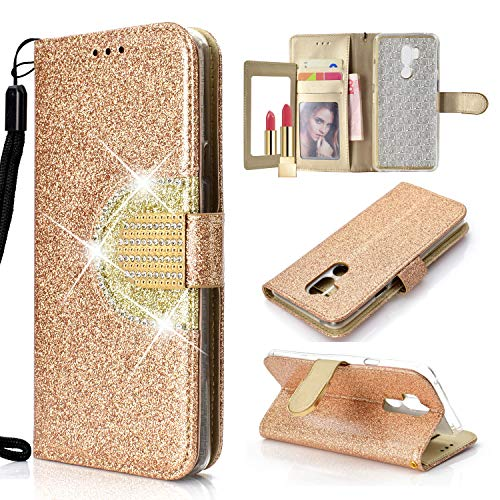 (Glitter Rhinestone Leather Wallet Case for LG Stylo 4,Yobby LG Q Stylus Fashion Gold Case Bulit-in Mirror Flip Magnetic Closure Stand Cover with Card Slots and Hand Strap)