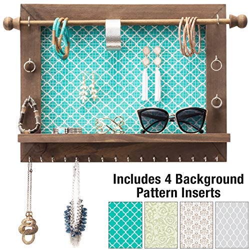 Excello Global Products Rustic Wall Mounted Jewelry Organizer: Shabby Chic Jewelry Box Alternative with 5 INTERCHANGABLE Background Options/Bracelet Organizer/Necklace Holder/Earring - Picture Jewlery Frames Holder