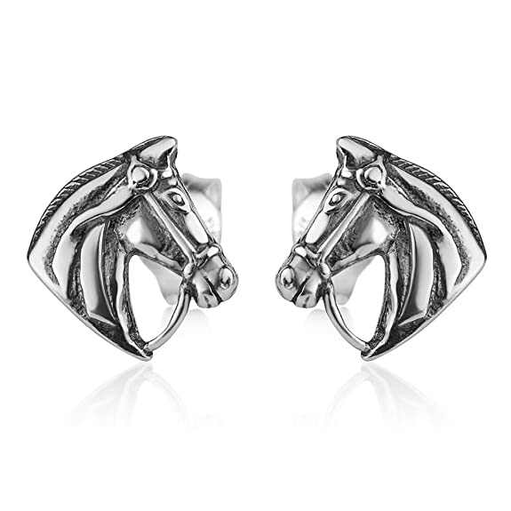 925 Oxidized Sterling Silver Vintage Tiny Horse Head Pony Equestrian Post Stud Earrings 9 mm