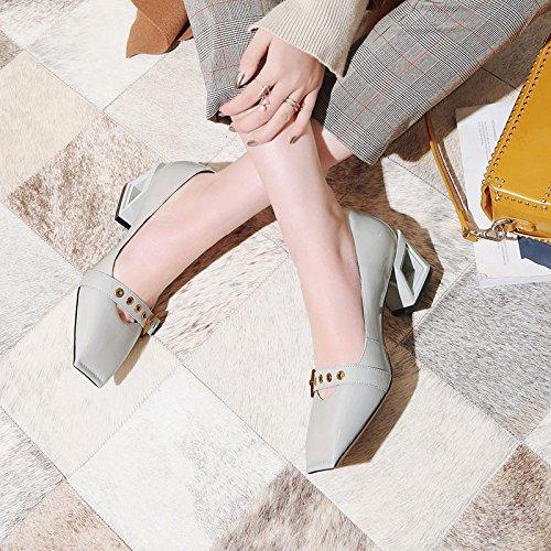 Chaussures Maîtresses Découpées Trapues pour en en Mary Talons Chaussures Boucles Cuir Et Métal Jane Femme Gris Hauts Asakuchi DKFJKI gvnH1qwxOx