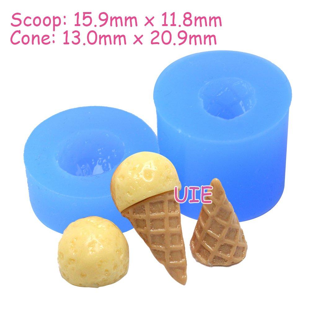 062LBX, 063LBX 1 Set 2 Pcs Molds 3D Ice Cream Silicone Mold Miniature Sweets Jewelry Charms Kawaii Cabochon Mold