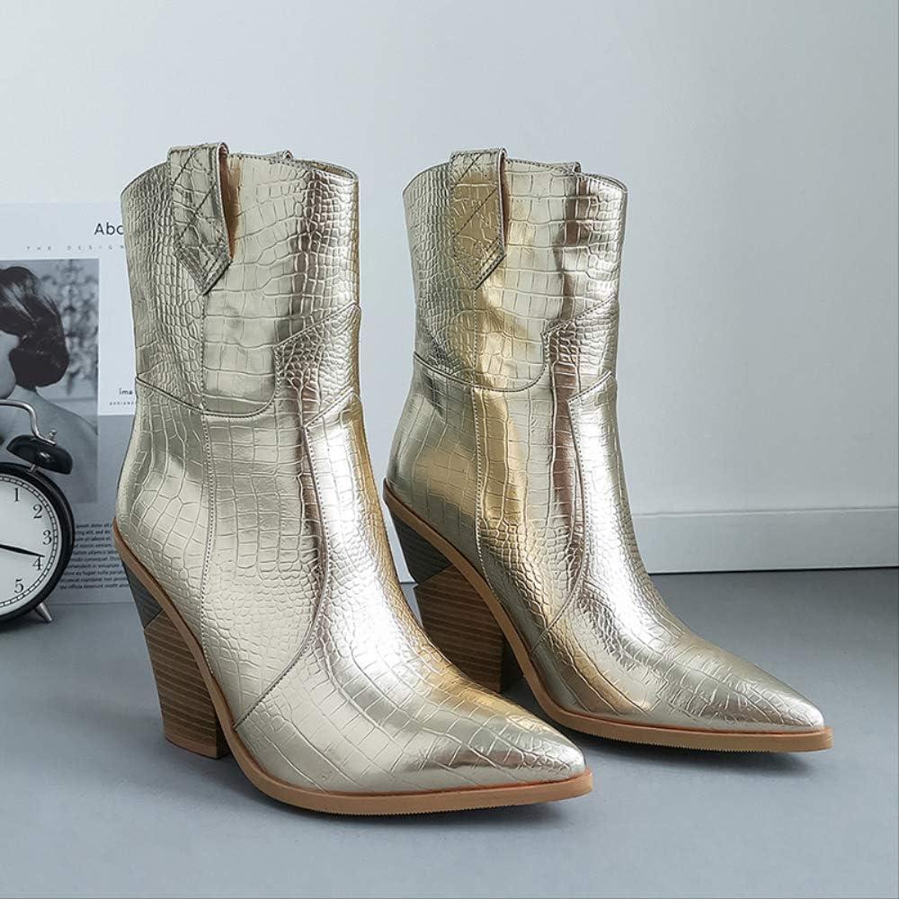 SHZSMHD Nuevos Botas de Invierno para Mujer Tacones Altos Botas Occidentales Botines para Mujer Moda Oro Plata Zapatos Mujer Gold fJsCz0NT