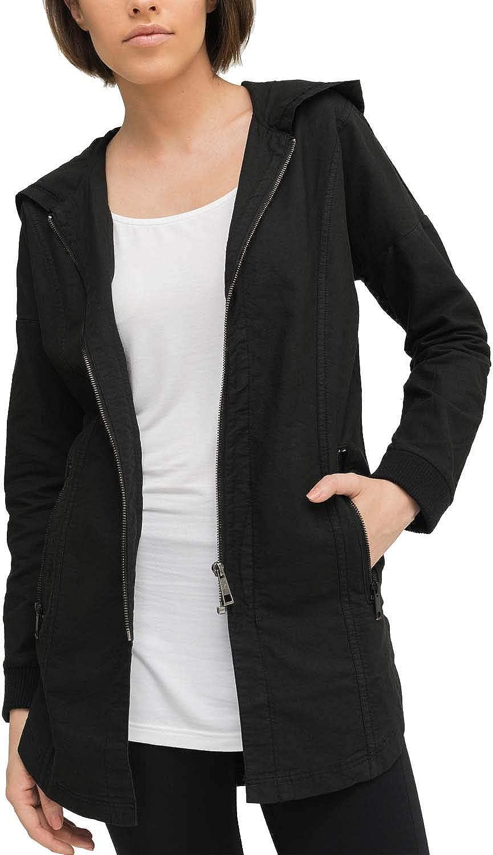TALLA XS. trueprodigy Casual Mujer Marca Chaqueta Militar Ropa Retro Vintage Rock Vestir Moda con Capucha Manga Larga Slim fit Designer Cool Urban Fashion Jacket Color Negro 2573517-2999