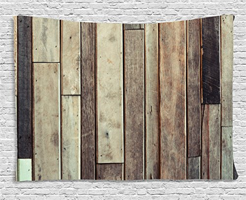Wooden Wall Hanging Tapestry by Ambesonne, Antique Old Planks Flooring Wall Picture American Style Western Rustic Panel Graphic Print, Bedroom Living Room Dorm Decor, 80 W X 60 L Inches, (Old Western Decor)