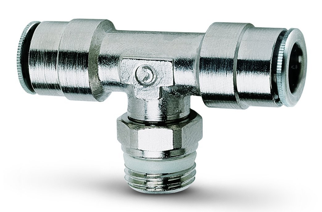 Camozzi Pro-Fit P6430 06-06 Branch T Swivel Tube Fitting, 3/8'' x 3/8'', Push-In Tube x NPTF 10 pack