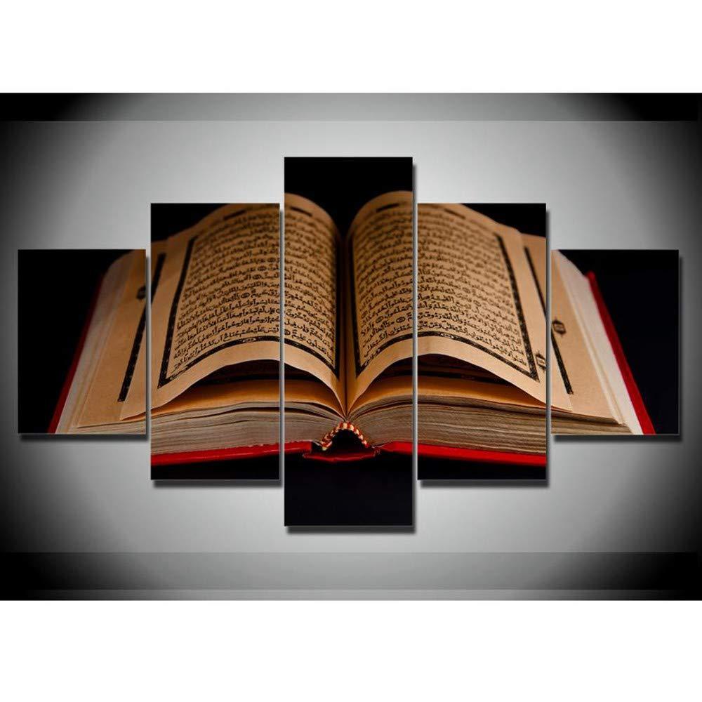 DYDONGWL Multi Panel Lienzo Lienzo Panel Cuadros Arte de la Pared Marco 5 Piezas Corán Escrituras Islámicas Pinturas HD Impresiones Holybook Corán Cartel de la Sala de Estar decoración, 30X40cmX2 30X60cmX2 30X80 9008b2