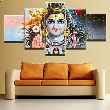 mddrr wandbild moderne leinwand bilderrahmen wohnkultur wohnzimmer 5 stuck der gott von indien shiva gemalde hd print mahesvara poster wohnzimmer