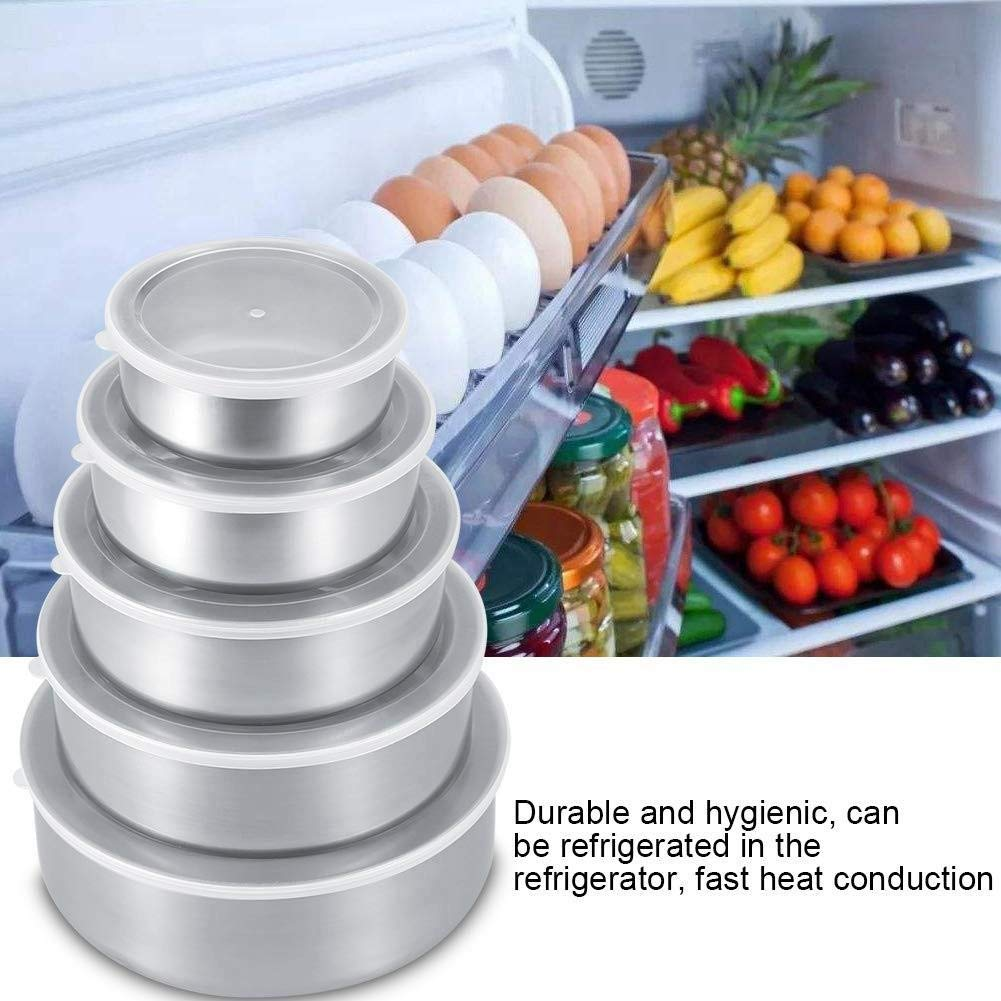 Stackable For Easy Storage getherad 5 Piece Stainless Steel Mixing Bowl Set 10cm // 12cm // 14cm // 16cm // 18cm Wide Rim For Easy Grip And Pouring Extra Deep For Generous Servings