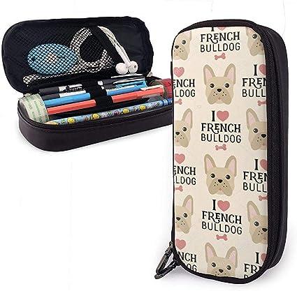 Estuche de lápices de color amarillo Bulldog francés, bolsa de maquillaje de gran capacidad: Amazon.es: Oficina y papelería
