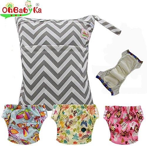 Baby Waterproof Reuseable Training Nappy Diapers 3pcs, A Wet Dry Bag by Ohbabyka by OHBABYKA
