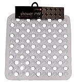 Square Non slip Deluxe Bath / Shower Mat, Durable PVC, Bubble Effect Anti Slip, 43cm x 43cm, Clear