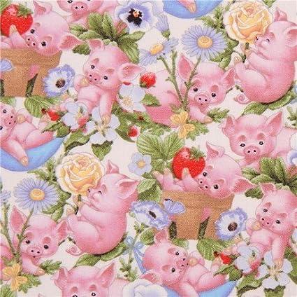 100/% Cotton Pig Fabric Pink on cream
