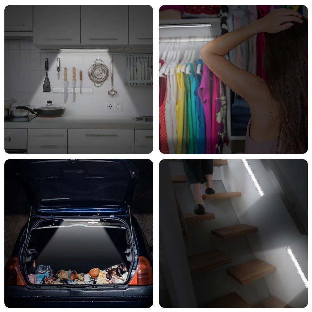 Motion Sensor Wardrobe Light Only Motion , Motion /& Light Upgraded Indoor 66LED Wireless Rechargeable Battery Cupboard Closet Under Kitchen Cabinet Shed Garage Night Lighting Strips 2 Sensor Mode