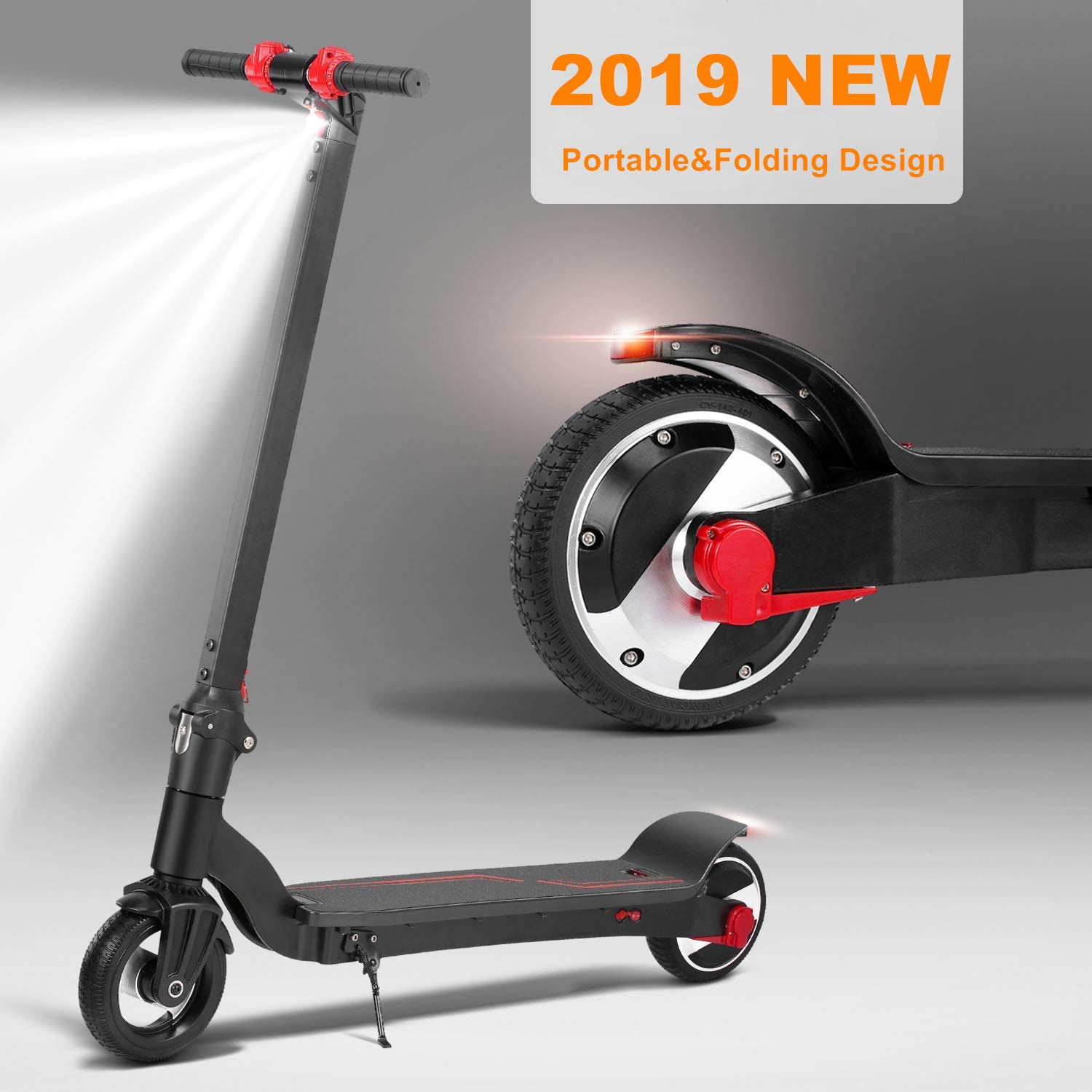 Speed up to 23Km//h 14MPH 13Km Long Distance 6.2-9.3 mile Remote Battery Light Weight Electric Scooter Adjustable Height Foldable City E Scooter Suitable for Adults /& Teenagers /& Commuters