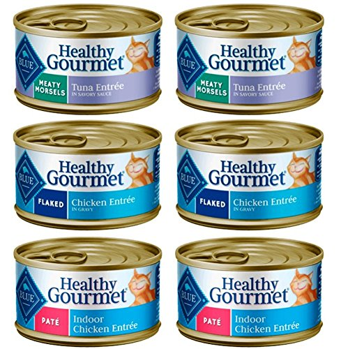 Blue Buffalo Healthy Gourmet Natural Food for Cats 3 Flavor Variety 6 Can Bundle, (2) each: Meaty Morsels Tuna, Flaked Chicken, and Chicken Pate (3 Ounces)