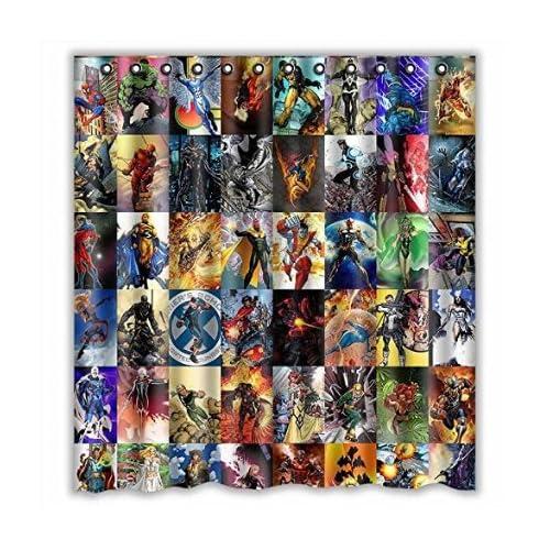 Custom Marvel Comic Avengers Characters Waterproof Bathroom Shower Curtain Polyester Fabric Size 66 X