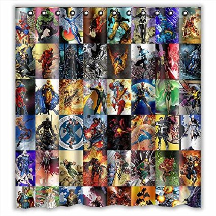 Custom Marvel Comic Avengers Characters Waterproof Bathroom Shower Curtain  Polyester Fabric Shower Curtain Size 66 X