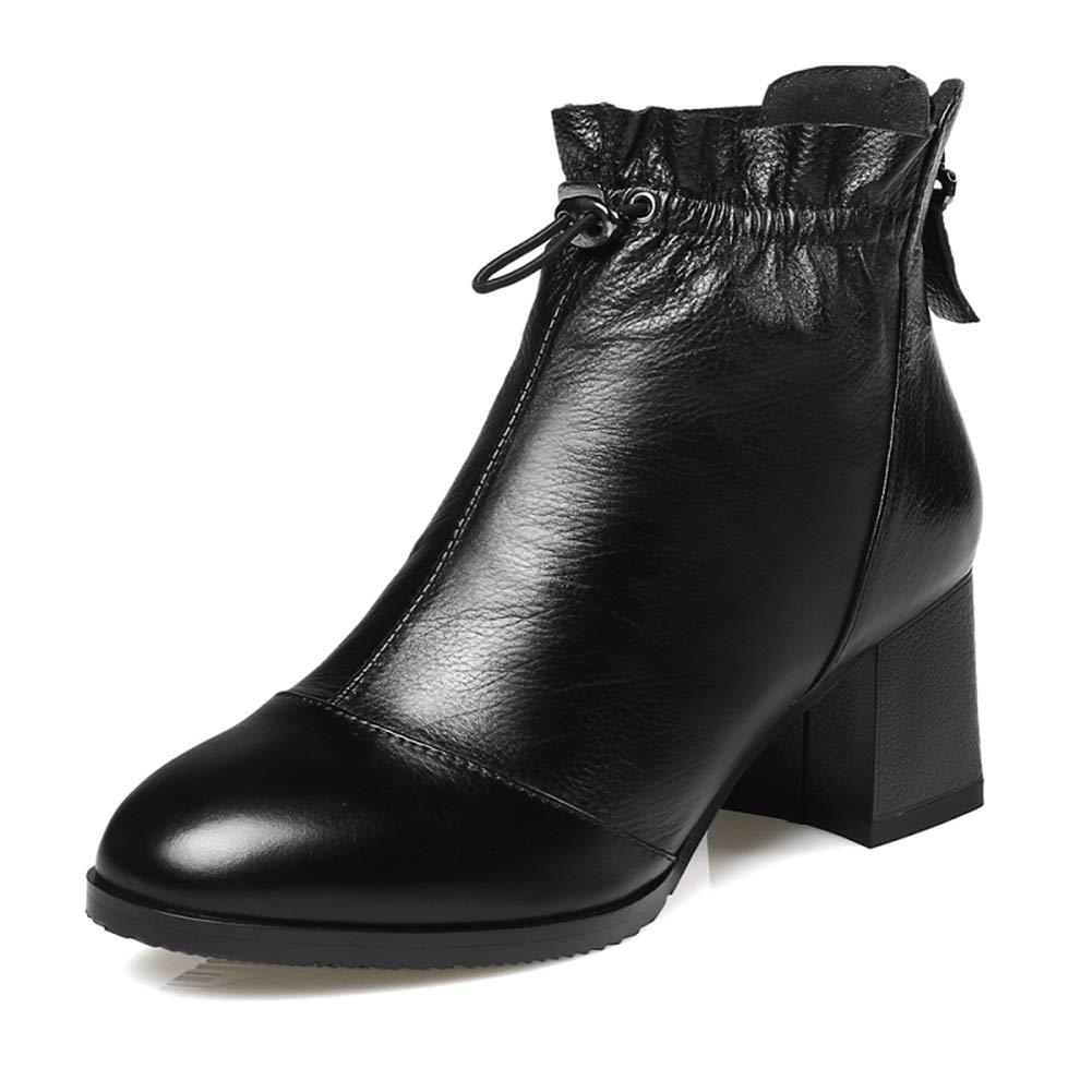 Frauen High Heel Stiefel Winter Lace-Up RüSchen Kuh Leder Quadratische Ferse Solide Damen Wedges Bequeme Schuhe