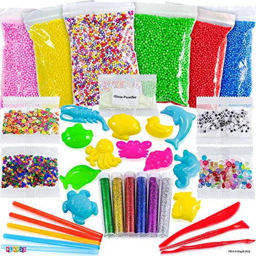 Play22 DIY Slime Kit for Kids - 18 Color Crystal Slime Making Kit, Includes Colorful Foam Balls, Fruit Face, Eyes, Stars, Glitter, Beads, Molds, Straws, Glow in Dark Powder and Much More – Original by Play22 (Image #3)