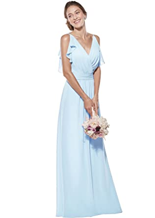 b3451a706a Zhongde Women's Double V Neck Spaghetti Straps Chiffon Bridesmaid Dresses  Long Formal Dress Maxi Baby Blue