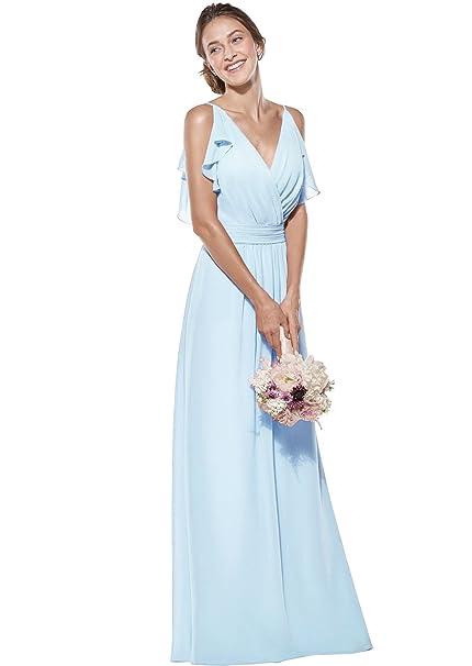 6121ae8006 Zhongde Women's Double V Neck Spaghetti Straps Chiffon Bridesmaid Dress  Long Formal Evening Gown