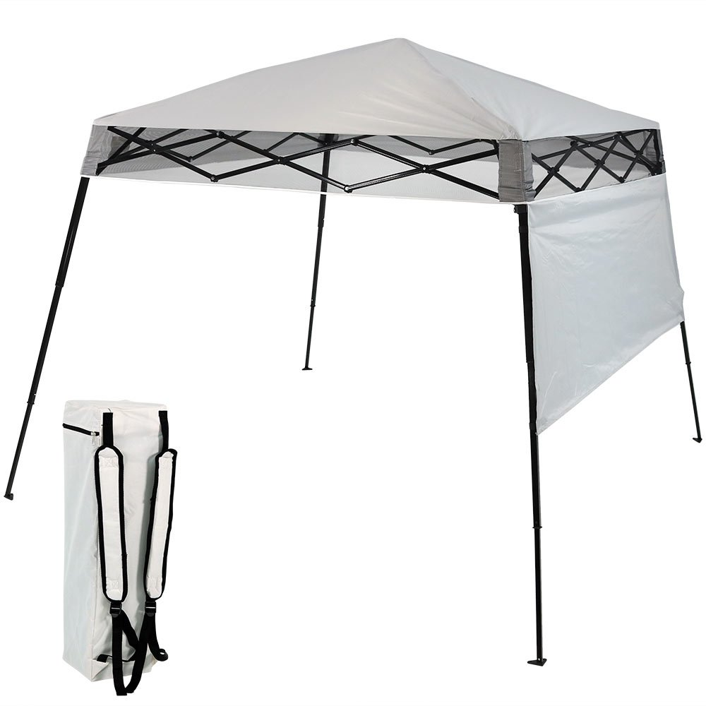 Sunnydaze Compact Quick-Up Slant Leg Instant Pop-Up Backpack Canopy, 6 x 6 Foot Top, 7.5 x 7.5 Foot Bottom, Light Grey