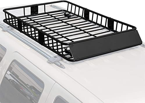 Universal Black Roof Rack Cargo with Extension Roof Basket Car Top Luggage Holder Carrier Basket Travel SUV 64