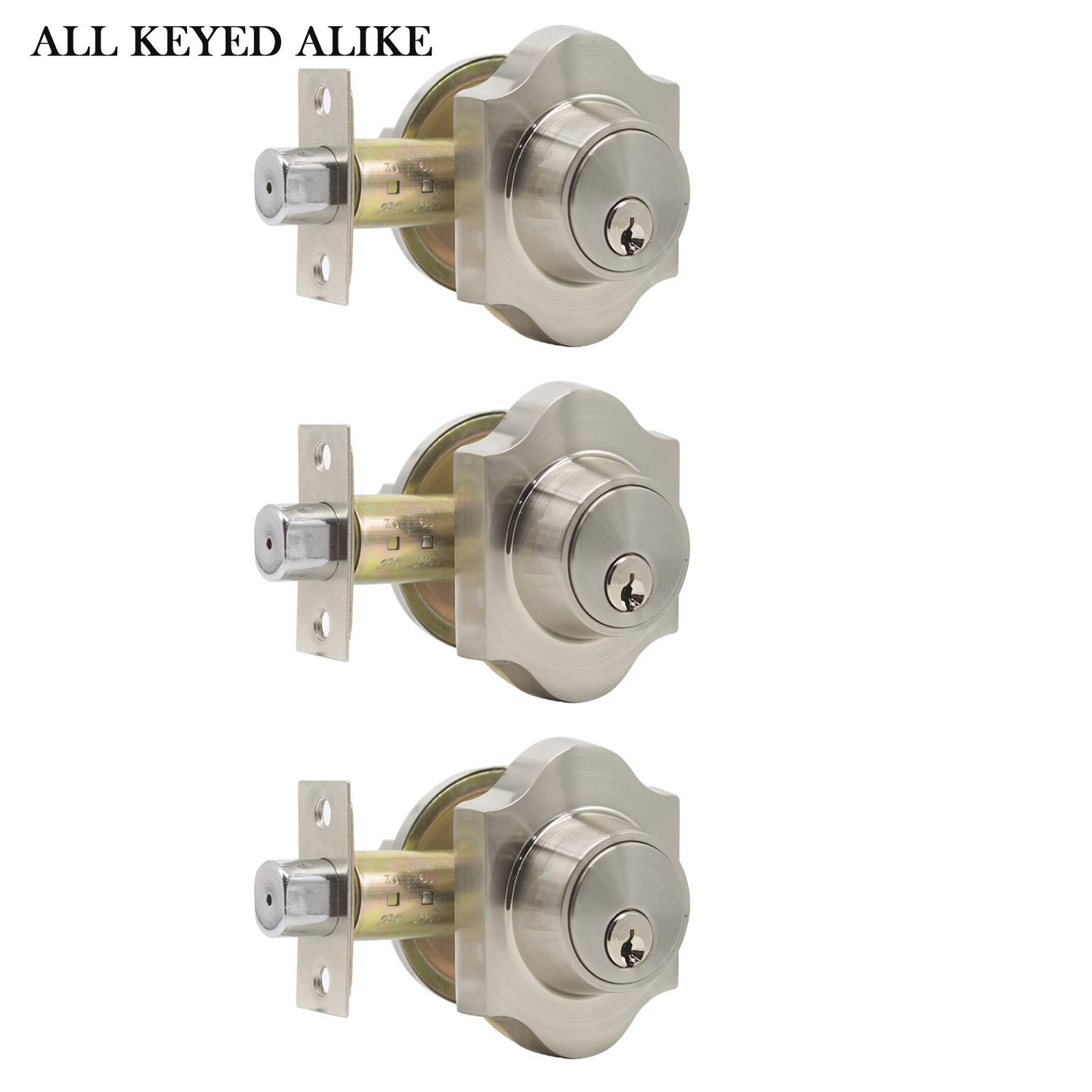 3 Pack Interior Bedroom/Bathroom Single Cylinder Deadbolt One Keyway Keyed Alike Same Key Safety Bolt Door Lock Lockset in Satin Nickel-Single Deadbolt