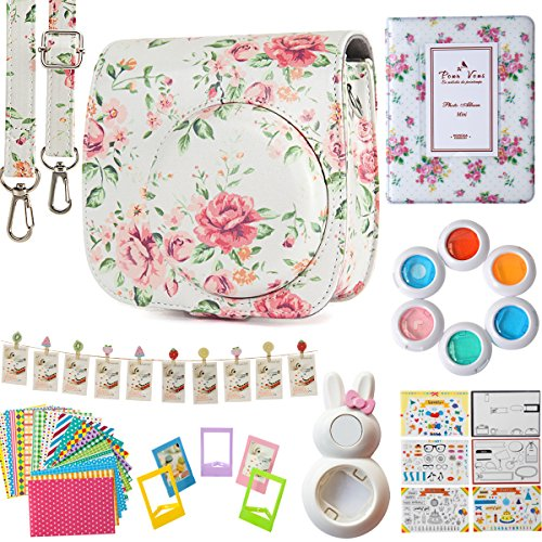 Flylther Compatible Mini 8 9 Camera 8-in-1 Accessories Bundles Set for Fujifilm Instax Mini 8 9 Instant Film Camera(Case,Albums,Frames,Film Stickers,Colored Filters,Selfie Lens) – White Flower