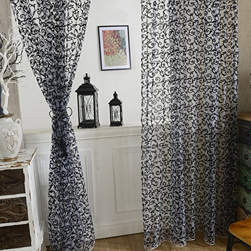 Fedi Apparel Peony Flower Scarf Sheer Voile Door Window Curtains Drape Panel Valances