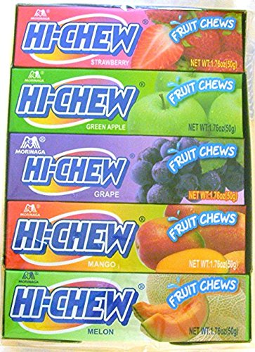 Morinaga Hi-chew Fruit Chews Assorted Fruit Flavors 1.76oz (50g) (Pack of 10) [Misc.]