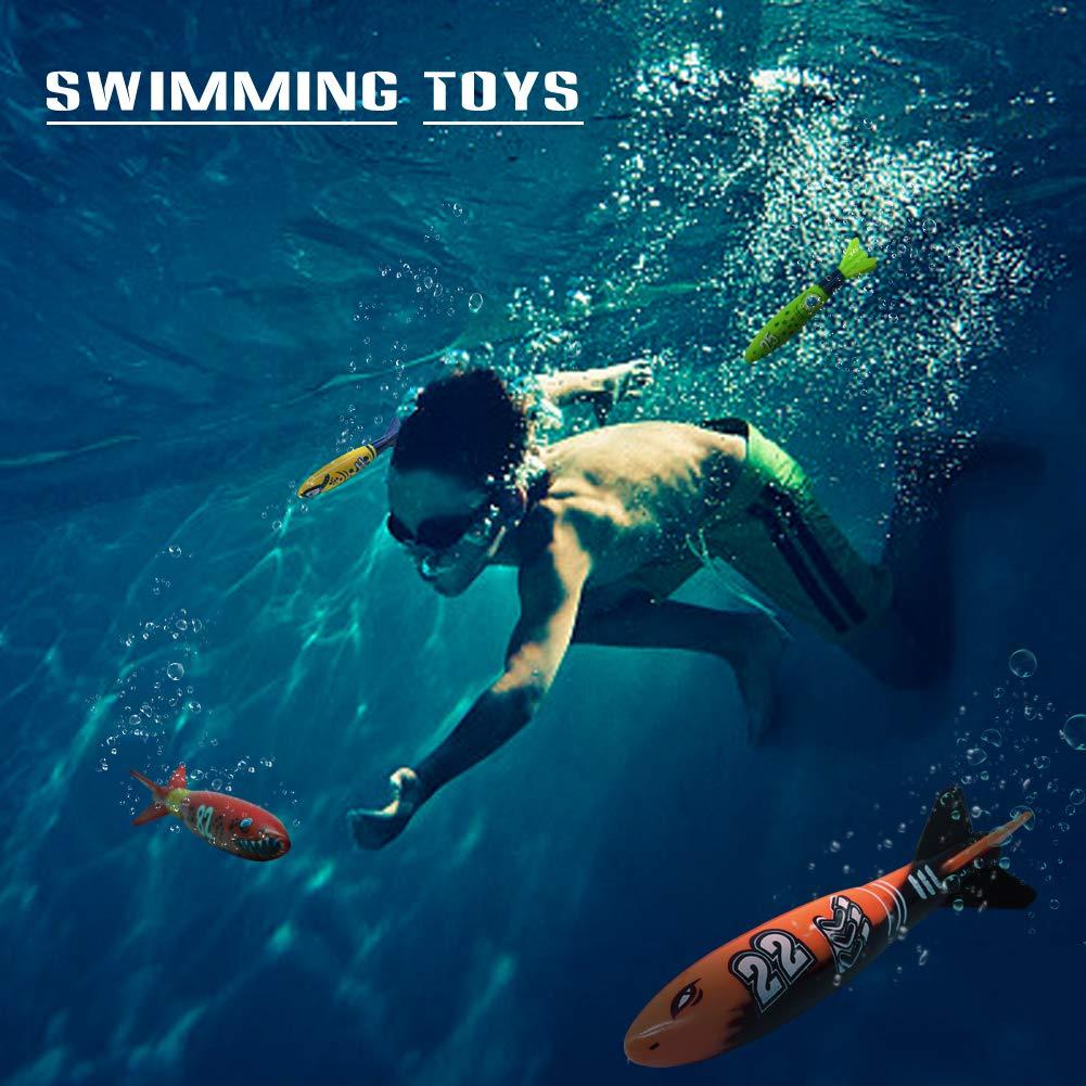 TYDOW Kit De Buceo Torpedo Agua Juego Acuático 4 Palos Juguetes Piscina Natacion para Ninos 5+
