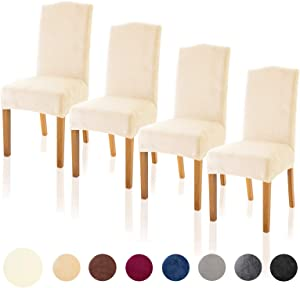 TIANSHU Velvet Dining Chair Cover Soft Stretch Dining Room Chair Slipcover Set of 4, Ivory