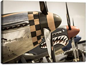 Close-up Fighter Airplane Wall Decor Retro Military Aircraft Canvas Art Pictures for Living Room Modern Artwork Posters Painting Men Room Decorations Gallery-Wrapped Ready to Hang(20''Wx28''H)