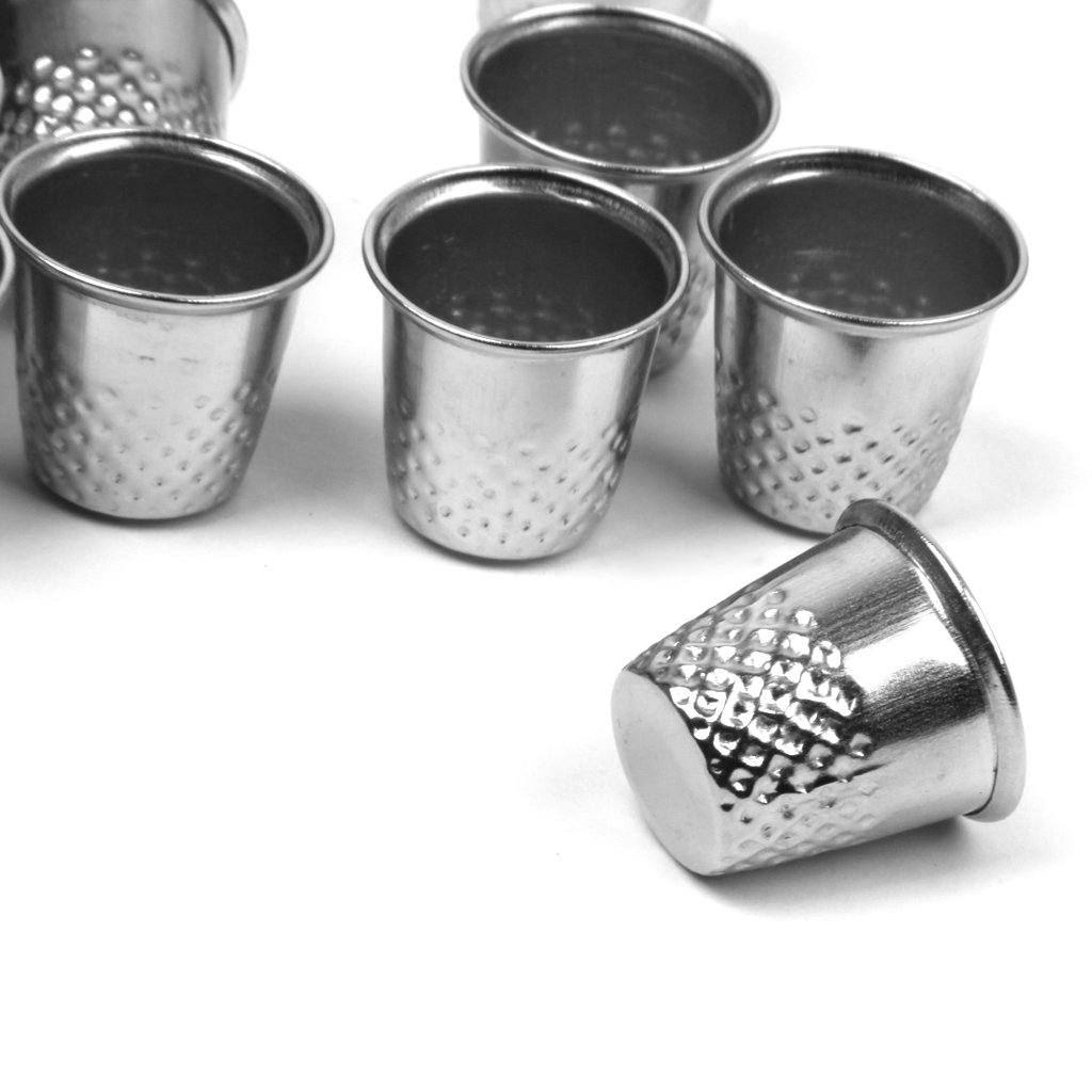 Silver Bonarty 10pcs Vintage Sewing Thimble for DIY Crafts 12x13mm