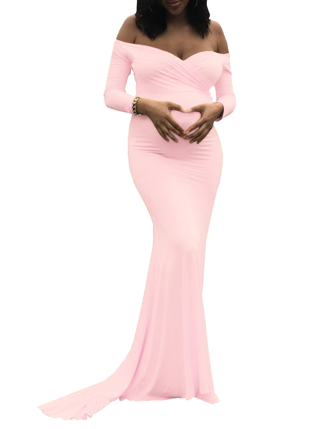 Saslax Women's Off Shoulders Sweetheart Neckline Long Sleeves Maternity Slim Fit Gown for Photography Dress Pink L