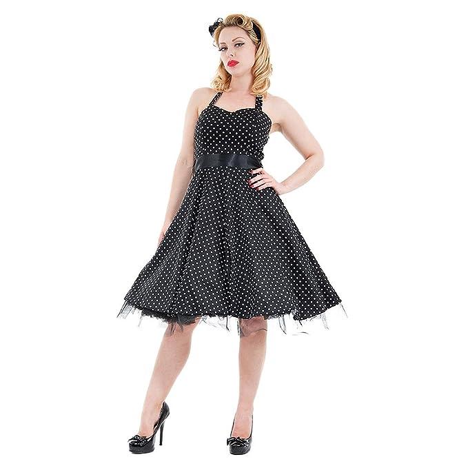 H&R Vestido Vintage Rockabilly de Lunares Pequeños y Estilo Retro (Negro/ Blanco)