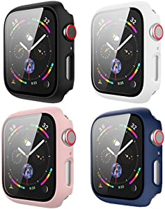 [4Pack] BOTOMALL Case with Tempered Glass Screen Protector Compatible for Apple Watch Series 6/5/4/SE Full Coverage Slim Guard Lightweight Protective Cover for iWatch 40mm
