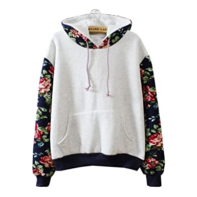 67b43ea85c Amazon.com  Cute Hoodies Sweater Pullover Warm Fleece Lined Flowers Sleeve  Grey Large  Clothing