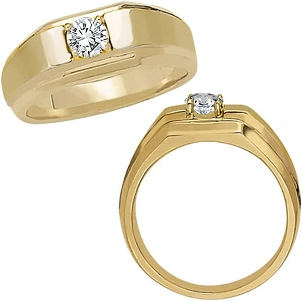 0 50 Carat G H Diamond Simple Solitaire Design Man Mens Engagement Wedding Groom Ring 14k Yellow Gold Amazon Com