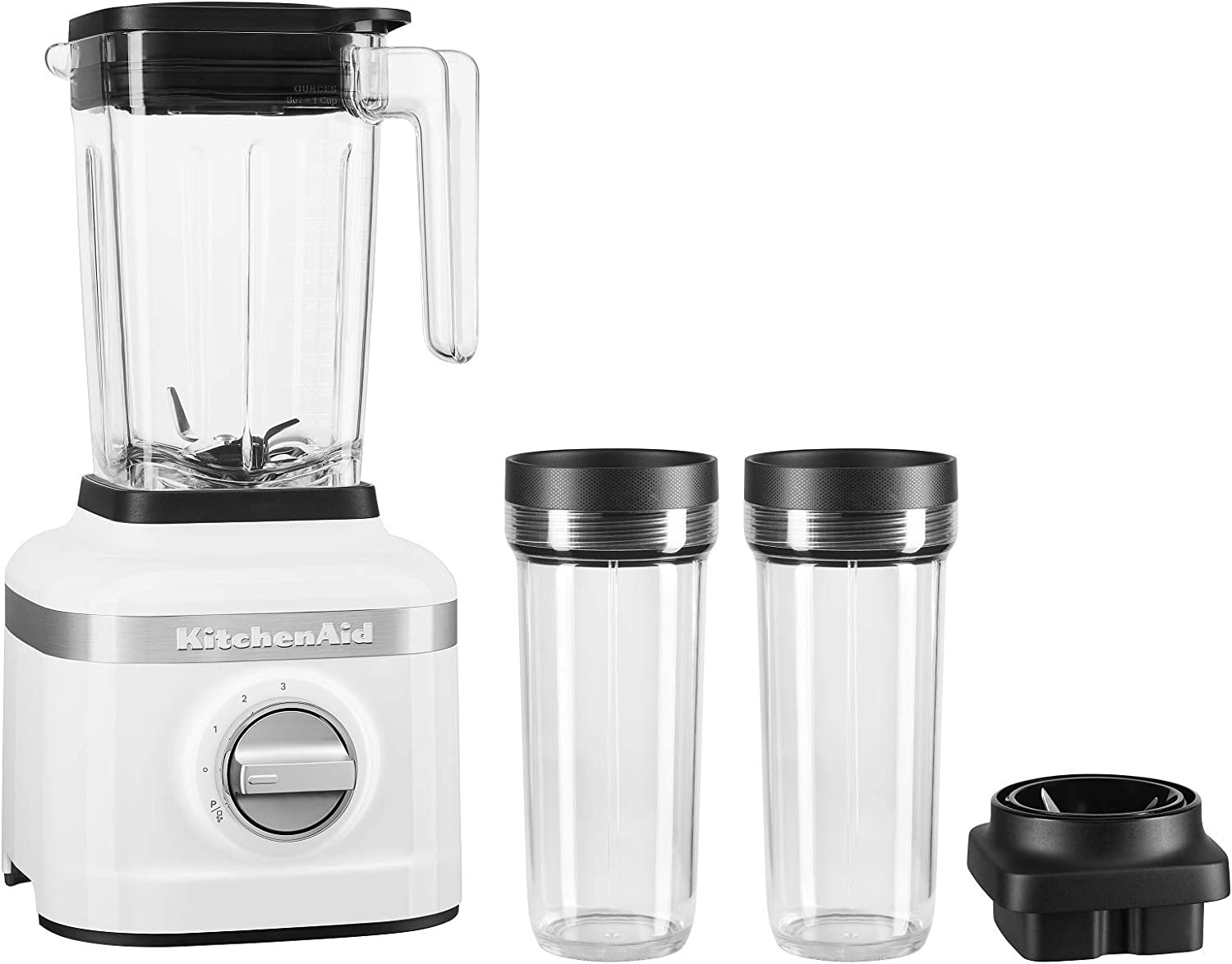 KitchenAid KSB1332WH 48oz, 3 Speed Ice Crushing Blender with 2 x 16oz Personal Jars to Blend and Go, White