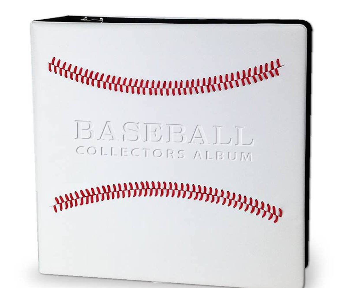 White Stitched Baseball Card Collectors 3-Ringed Album With 3'' D-Rings 3 Pack